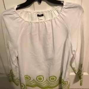 White and Green J. Crew Blouse